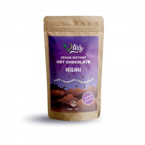 Vliss vegan instant hot chocolate original flavour back of pouch