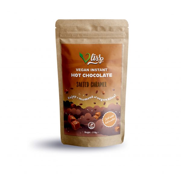 Vliss instant vegan hot chocolate Salted Caramel flavour pouch