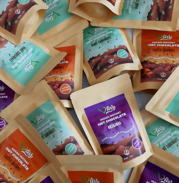 Vliss vegan instant hot chocolate pouches